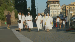 Happy group of nuns in Rome (slomo) - stock footage