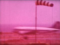 8MM GREECE old Olympic airways plane landing - 1961 Stock Footage