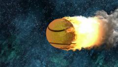 Burning tennis ball Stock Footage