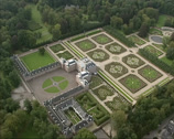 Stock Video Footage of Aerial shot of Het Loo Palace and symmetric Palace Gardens