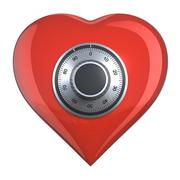 heart with combination lock - stock illustration