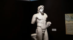Statue of Poseidon at the Archaeology museum Stock Footage