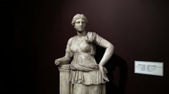 Statue of Artemis at the  Archaeology museum Stock Footage