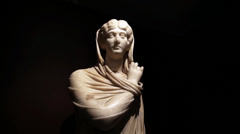 Statue of Cornelia Antonia at the Archaeology museum Stock Footage