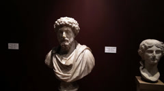 Statue of Marcus Aurelius and the Emperor Augustus at the Archaeology Museum Stock Footage