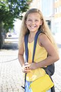 Germany, thuringia, portrait of girl going to school, smiling Stock Photos