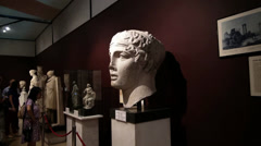 The statue of the poet Sappho at the Archaeology museum Stock Footage
