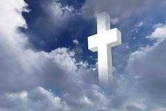 white christian cross - stock photo