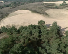 Aerial shot sand dunes in drift sand area Kootwijkerzand, The Netherlands Stock Footage