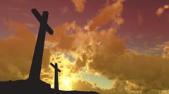 crosses  silhouette - stock photo