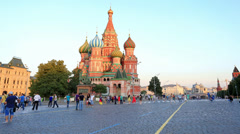 Movement of people near Cathedral of St. Vasily the Blessed. It was built from 1 - stock footage