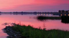 Sunset over the reservoir in Vyshny Volochyok, Stock Footage