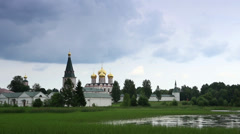 Movement of clouds over Valday Iversky Monastery Stock Footage
