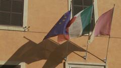 EU, Italy & Rome flags 1 (slomo) Stock Footage