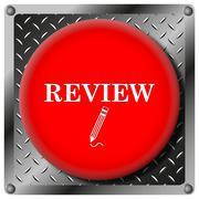 review metallic icon - stock illustration
