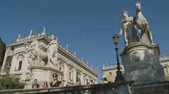 Side profile the Campidoglio steps in Rome3 (slomo dolly) Stock Footage