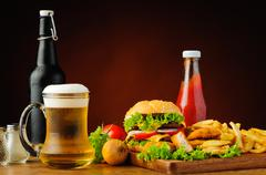 Stock Photo of fast food menu and beer