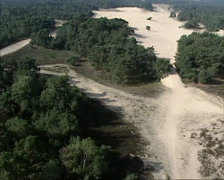 Aerial view drift sand area  Wekeromse Zand, The Netherlands Stock Footage