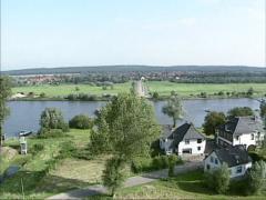 Aerial shot Dutch ferryboat crossing river Rhine at Amerongen - Eck en Wiel Stock Footage