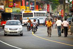 Bentota, sri lanka - apr 27: common sri lankian crowded street with different Stock Photos