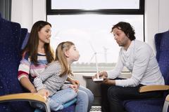 Saksassa, Brandenburg, perhe matkustaa junassa Kuvituskuvat