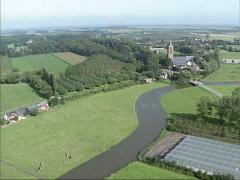 Aerial shot course of river Linge at Zoelen, The Netherlands. Stock Footage