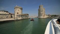 Entering La Rochelle harbor in POV 1 Stock Footage