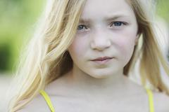 germany, north rhine westphalia, cologne, portrait of girl, close up - stock photo