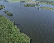 Aerial shot network of rivers and creeks with islands in Biesbosch national park Stock Footage