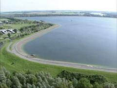 Aerial freshwater basin in Biesbosch national park, the Netherlands Stock Footage