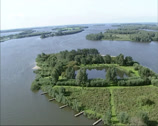 Stock Video Footage of Aerial shot Biesbosch national park, island and creeks, The Netherlands
