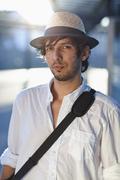 Stock Photo of germany, bavaria, landsberg, portrait of mid adult man with shoulder bag