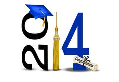Blue graduation cap for 2014 - stock illustration