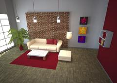 3d rendering modern of living room Stock Illustration