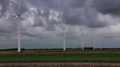Wind turbines on field Stock Footage