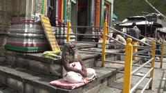 Sadhu at Kedarnath Stock Footage