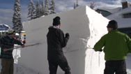 Stock Video Footage of snow sculpture chisel block, medium shot