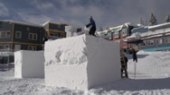 Stock Video Footage of snow sculpture, blocks piled waiting for sculpting