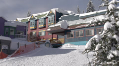 Silver Star ski village, colourful buildings Stock Footage