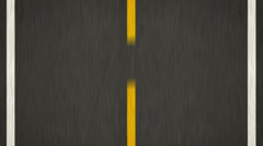 Yellow Line On New Asphalt Road. Top view. - stock footage