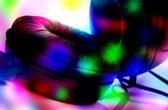 headphones and flashing lights - stock photo
