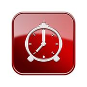 alarm clock icon glossy red, isolated on white background - stock illustration