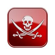 Stock Illustration of pirate icon glossy red, isolated on white backround