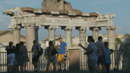 Stock Video Footage of Tourists hang out above Rome Ancient city 1 (slomo)