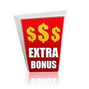 Extra bonus red banner with dollars signs Stock Illustration