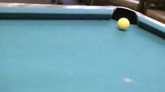 Yellow ball in corner pocket Stock Footage
