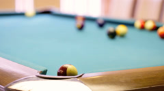 Striped ball in corner pocket Stock Footage