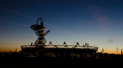 Time Lapse of ArcelorMittal Orbit at twilight from Stratford Stock Footage
