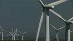 Wind turbines and sky - stock footage