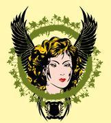 erotic pin-up girl portrait vector art - stock illustration